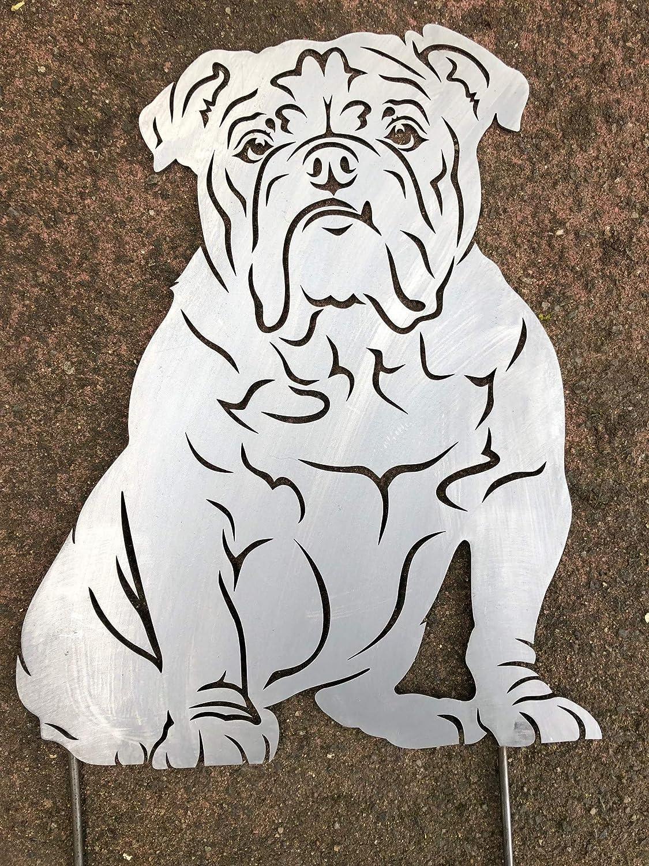 Terma Acero Diseño Oxidado Figura de Bulldog Inglés, English Bulldog, Bully, Oxidado Jardín Figura, Perro, Altura 30 cm Somier (Figura, Figura