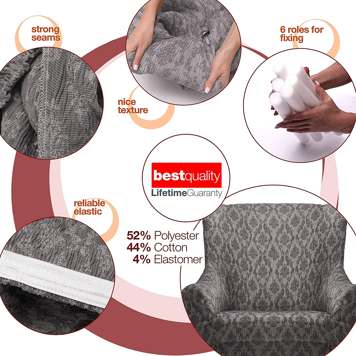 CASATEXTIL by Canete Sofa Cover ORNA 1 Seater 91 Grey