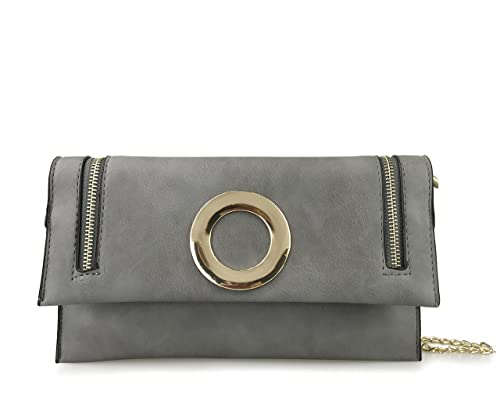 c9ddc5e96393 Women s Foldover Clutch Crossbody Shoulder Bag with Gold Metal Ring and  Zipper Decor Grey (Grey)  Handbags  Amazon.com