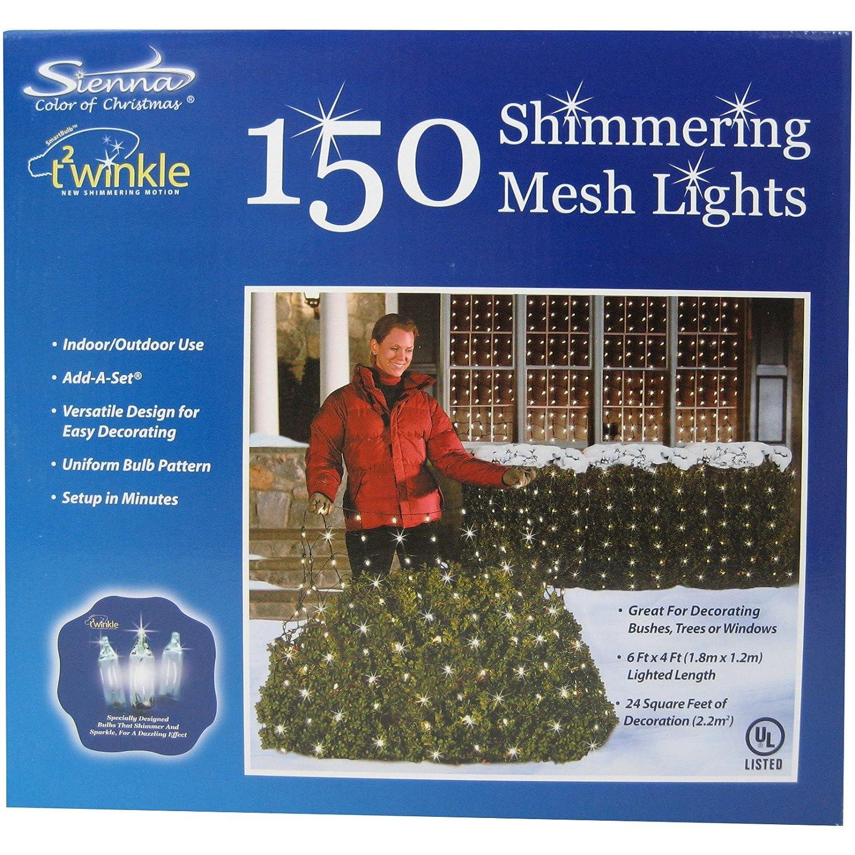 Twinkle Net Lights 4x6 Shimmering Mesh 150 Lights