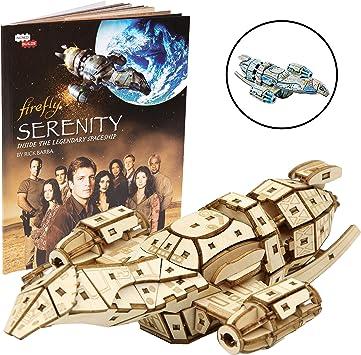 Incredibuilds Firefly Serenity Modelo Madera Estructura de Juego Libro 3D y 3D, Pintar y coleccionar su Propio Modelo Grande de Madera para niños y Adultos, 12 + 6.5