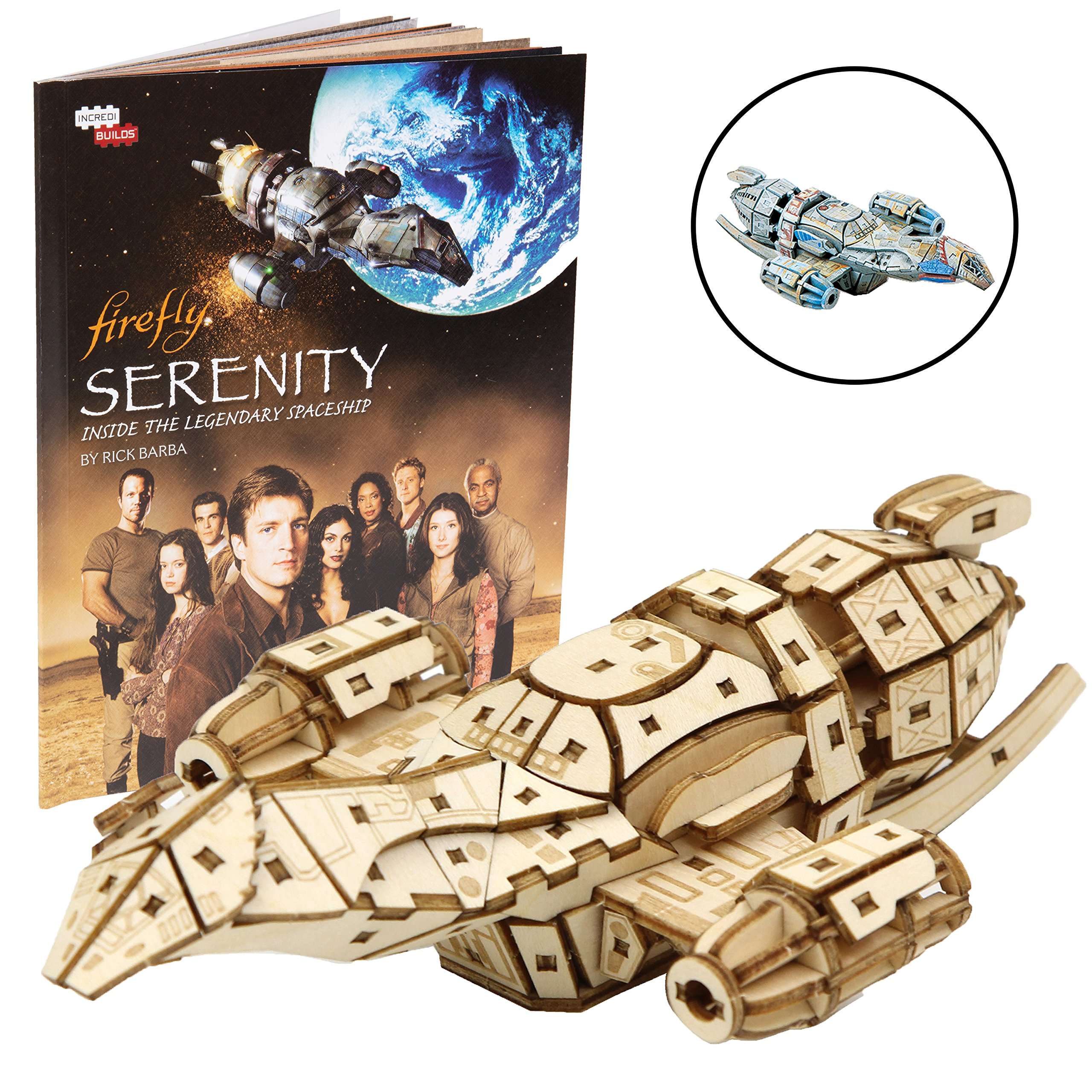 IncrediBuilds Firefly Serenity Book and 3D Wood Model Kit - Build, Paint and Collect Your Own Wooden Model - Great for Kids and Adults,12+ - 6.5'' x 4.25''