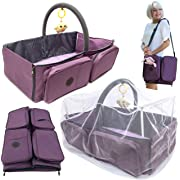 Cashay Baby Premium 3 in 1 Diaper Bag is a Baby Nap Mat / Baby Bassinet Portable, Diaper Changing Station, and offers Travel Accessories for Baby including a Mosquito Net Protection System