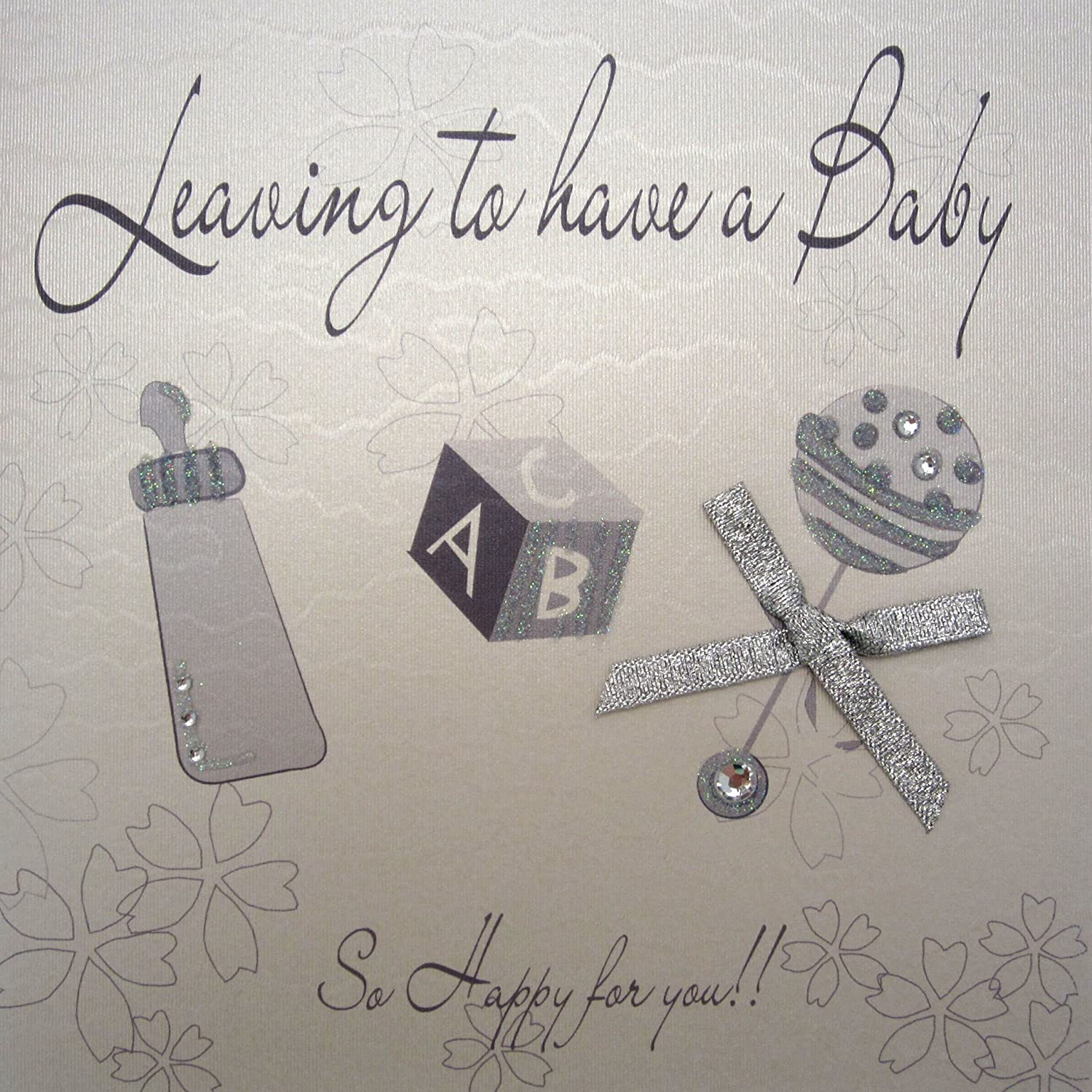 White WHITE COTTON CARDS WB197 Silver Rattle Leaving To Have a Baby Handmade Card