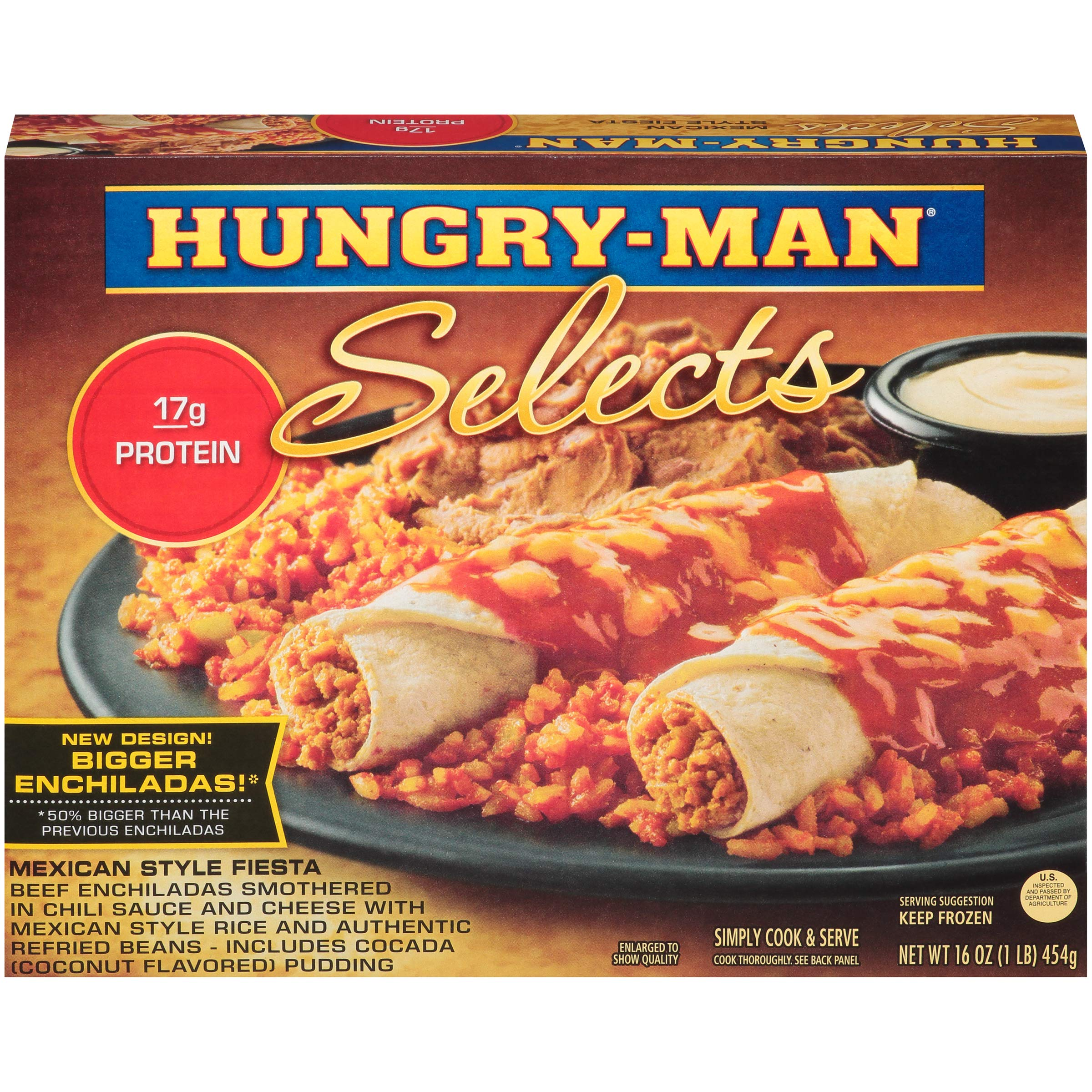 Hungry Man Selects Beef Enchiladas Mexican Style Fiesta 16 oz Pack of 8