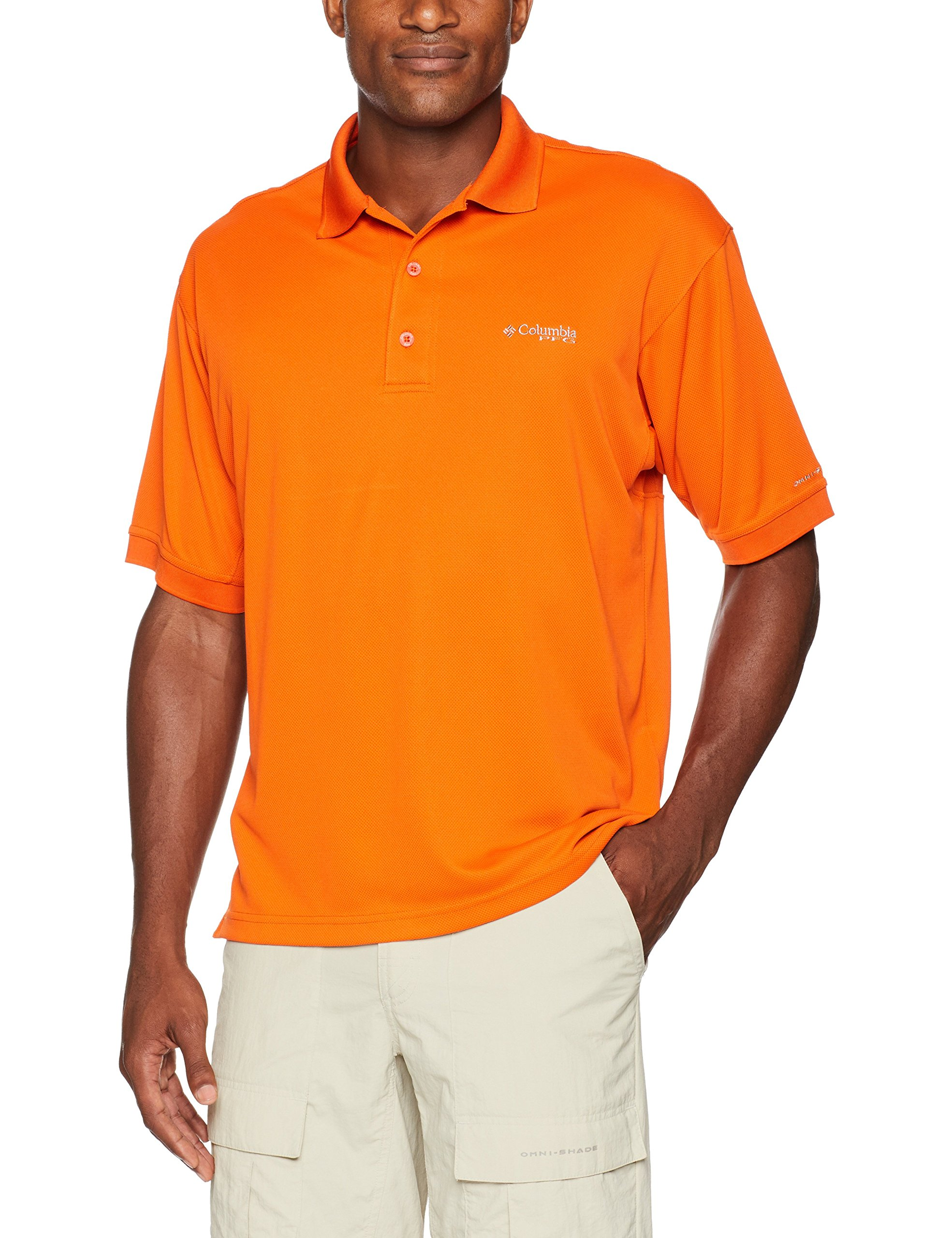 Columbia Men's Perfect Cast Polo Shirt, Backcountry Orange, Small