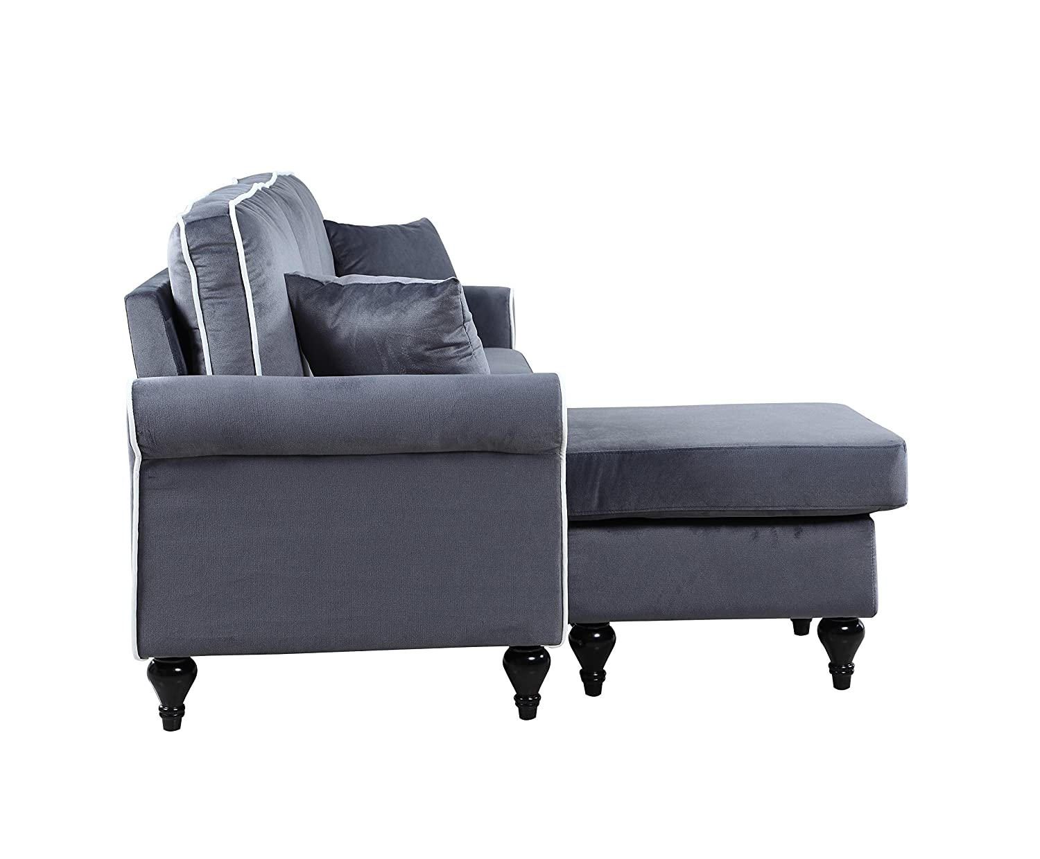 Recamiere chaiselongue  Amazon.com: Classic and Traditional Small Space Velvet Sectional ...