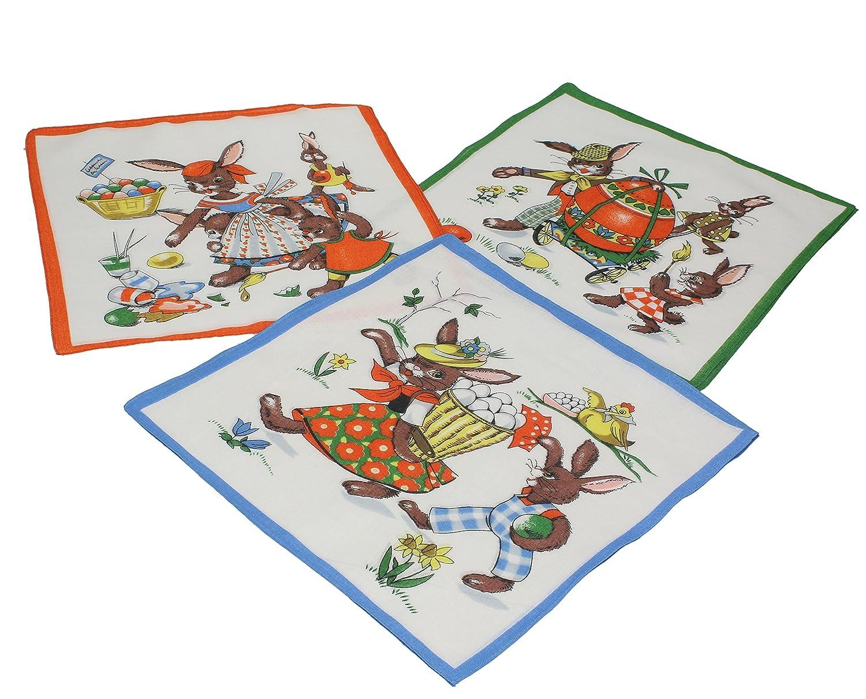 Betz. Set di 12 fazzoletti per bambini al motivo d'animali Pasqua, misure 26 x 26 cm, 100 % cotone, design 9