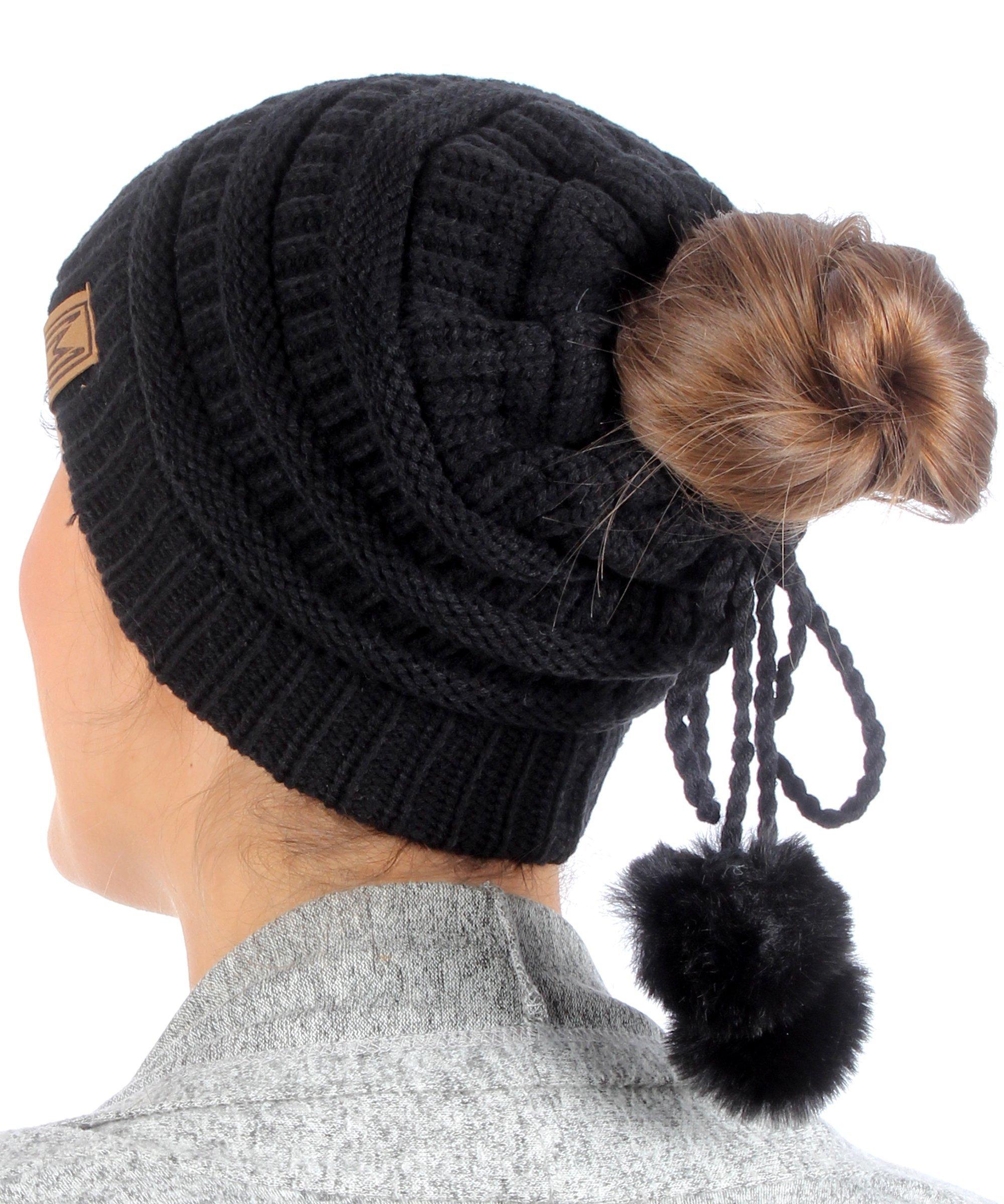 7f43b3967 MIRMARU Women's Ponytail Messy Bun Beanie Ribbed Knit Hat Cap with  Adjustable Pom Pom String - Cool Beanie Hats