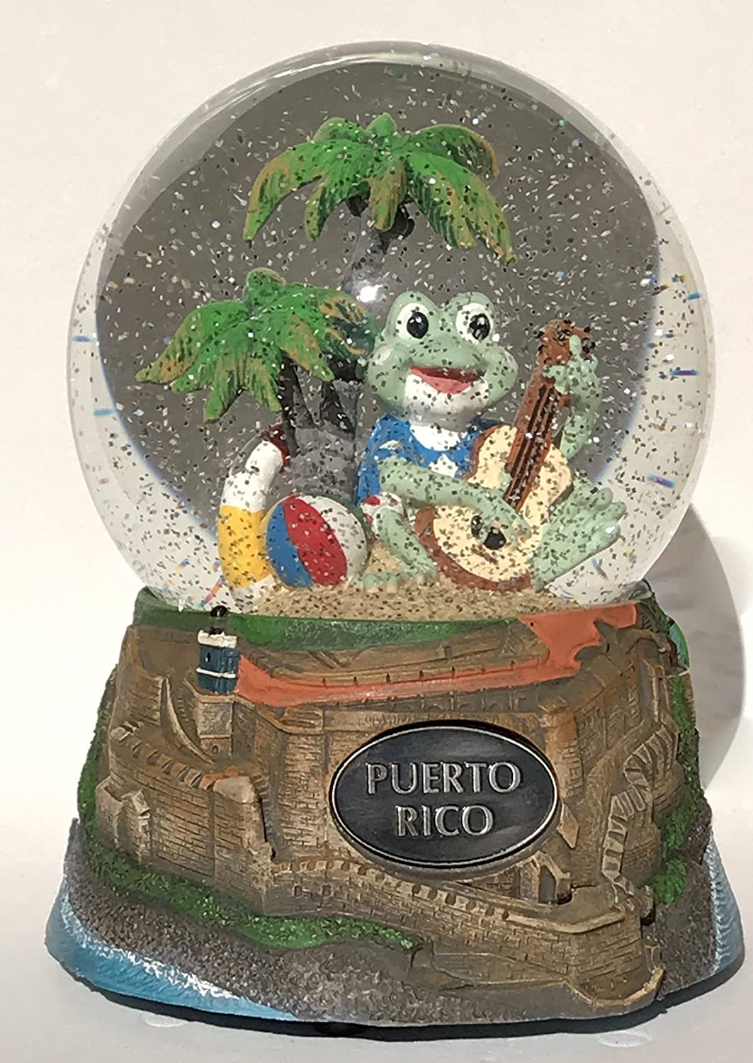 Think Crate Puerto Rico Souvenir El Morro Fortress and Playful Coqui Frogs Musical Snow Globe 100mm Water Ball Music Box