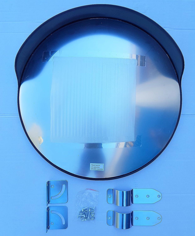 de 60 cm de di/ámetro para garantizar la seguridad en calles y en tiendas de color negro convexo con soporte de fijaci/ón ajustable para poste de 60 mm ECM-60-B2-o Espejo de seguridad
