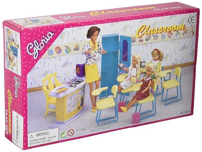 gloria Barbie Size Dollhouse Classroom Play Set Dollhouse Furniture at amazon