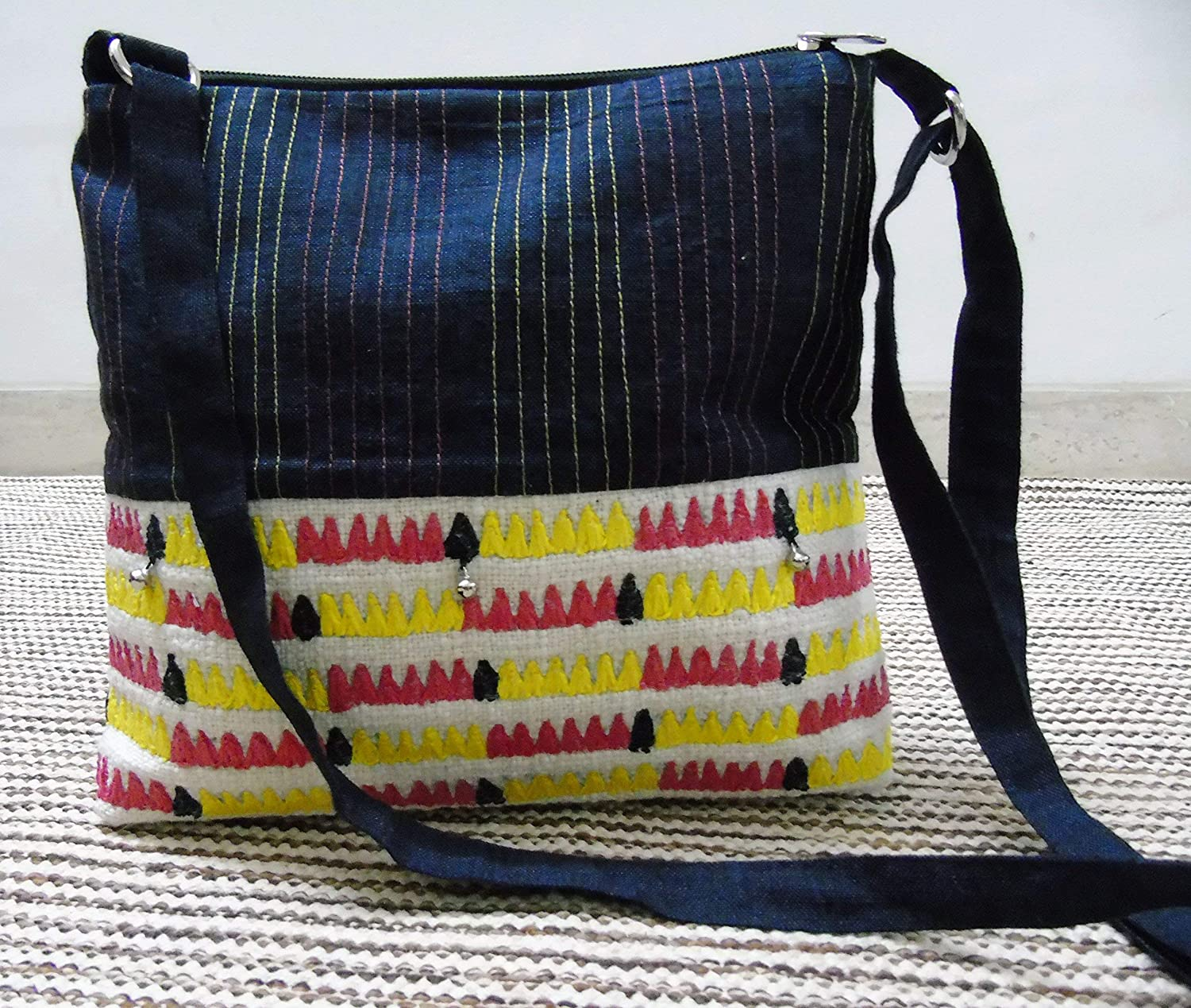 HANDMADE multi-colored pouch with lid!
