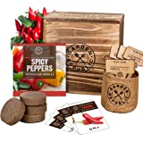 Indoor Garden Pepper Seed Starter Kit - 4 Non GMO Hot Peppers Seeds for Planting, Pots, Planter Box, Scissor, Plant Markers -