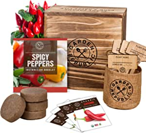 Indoor Garden Pepper Seed Starter Kit - 4 Non GMO Hot Peppers Seeds for Planting, Pots, Planter Box, Scissor, Plant Markers - DIY Grow Your Own Vegetable Herb Growing Kits, Vegan Gardening Gifts