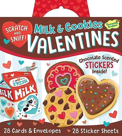 Amazon peaceable kingdom milk cookies scratch sniff peaceable kingdom milk cookies scratch sniff stickers 28 card super valentines pack colourmoves