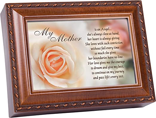 "Mom An Angel Jeweled Dark Wood Finish Music Box /""Wind Beneath My Wings/"""