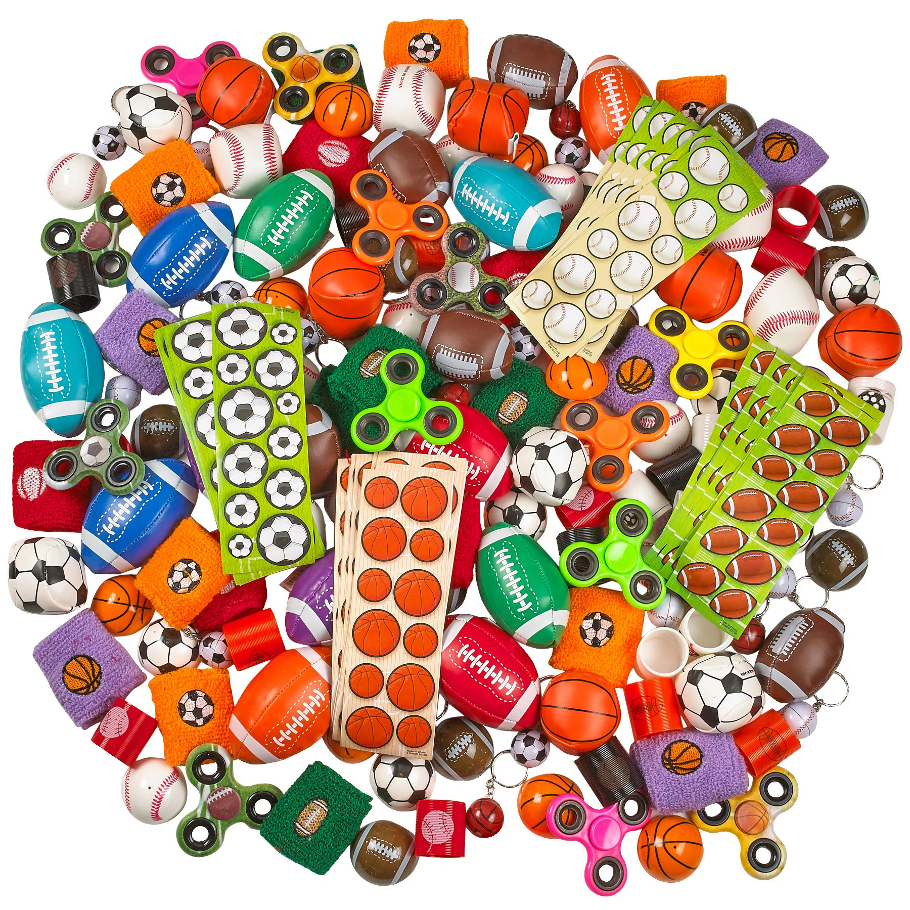 Kicko Sports Balls Toy 250 Pc. Assortment - Variety Pack for Classrooms, Playground and Carnivals - Perfect for Birthday, Novelties, Game Prizes, Educational Toys, Party Favor, and Supplies