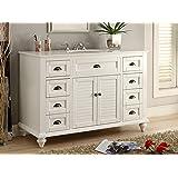 """Glennville 49"""" Cottage Bathroom Vanity Cabinet Set in White GD28327"""