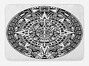 "Lunarable Aztec Bath Mat, Mayan Calendar End of The World Prophecy Mystery Cool Culture Design Print, Plush Bathroom Decor Mat with Non Slip Backing, 29.5"" X 17.5"", Black Grey"