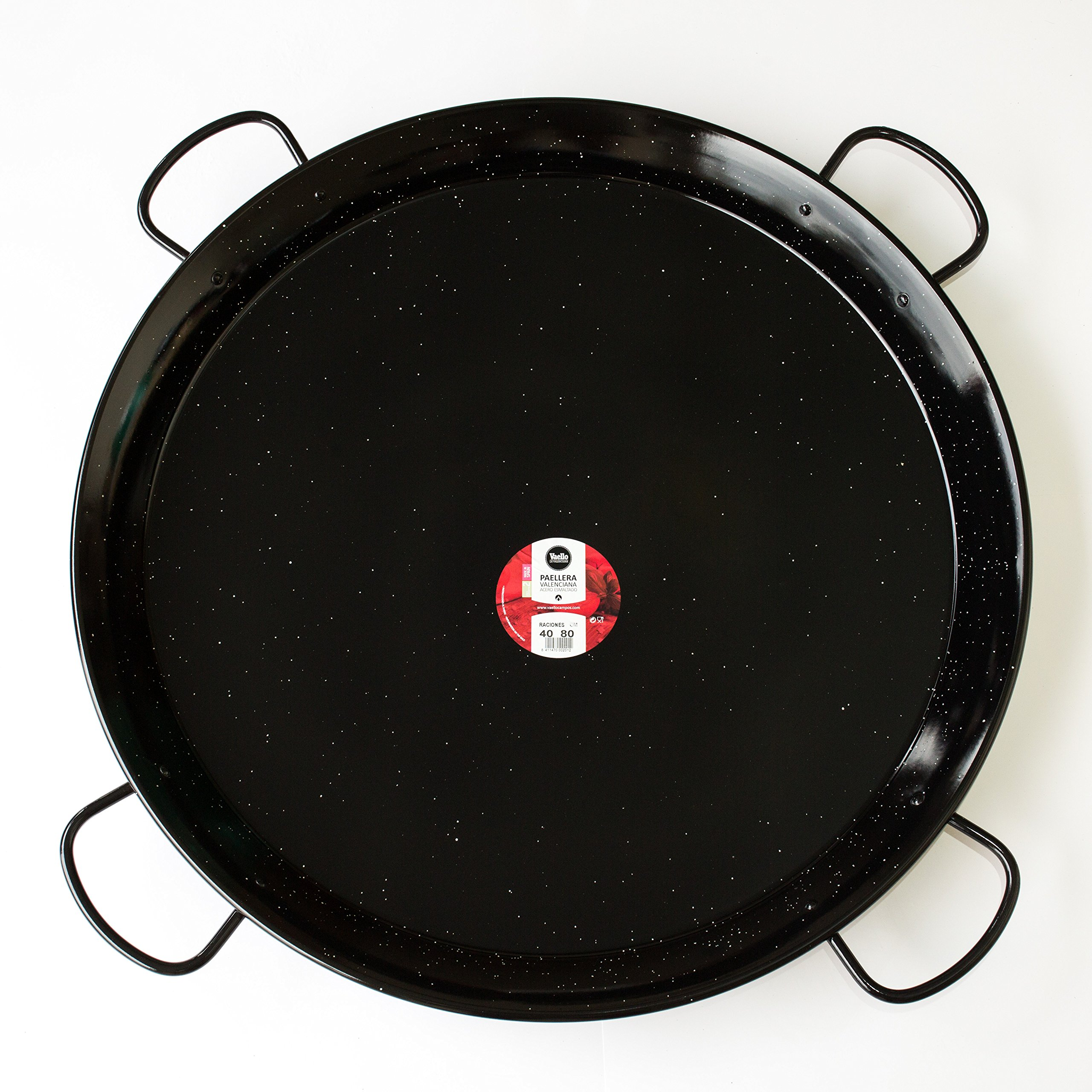 Paella Pan Enamelled Carbon Steel 32Inches / 80cm / up to 40 Servings / 4 handles (Nonstick)
