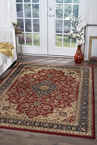 Kirsten Traditional Oriental Red Rectangle Area Rug, 8 x 10