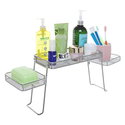 modern perforated chrome plated metal over the sink organizer rh amazon in Bathroom Counter Organizer Bathroom Under Sink Organizers