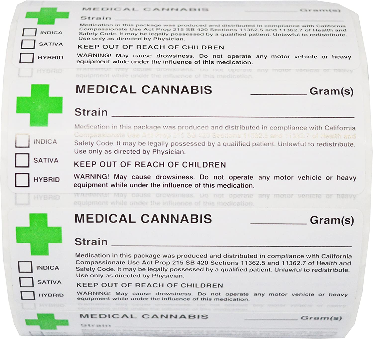 300 Labels Green Cross Medical Labels