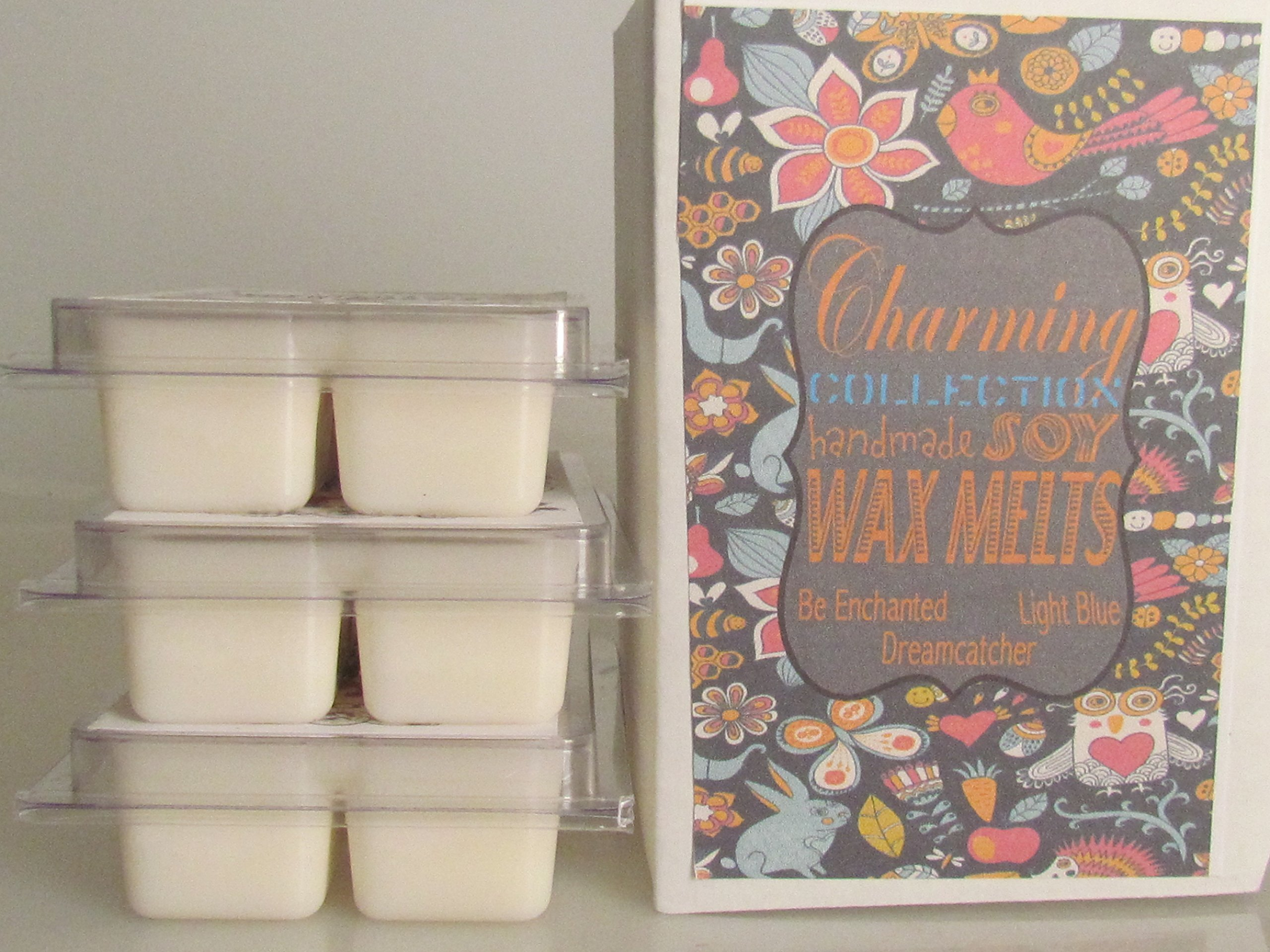 Soy Candle Tarts Wax Melts For Warmers 3 Variety Pack Dream Catcher, Be Enchanted, Light Blue
