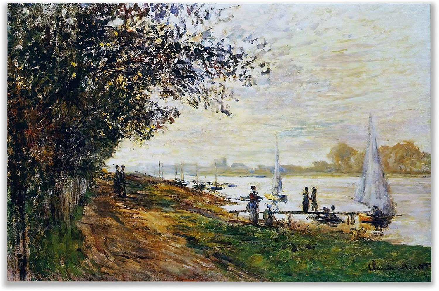 Monet Wall Art Collection The The Riverbank at Le Petit-Gennevilliers, Sunset, 1875 Canvas Prints Wrapped Gallery Wall Art   Stretched and Framed Ready to Hang 36X48,