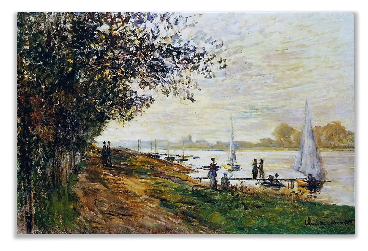 Monet Wall Art Collection The The Riverbank at Le Petit-Gennevilliers, Sunset, 1875 Canvas Prints Wrapped Gallery Wall Art   Stretched and Framed Ready to Hang 12X18,