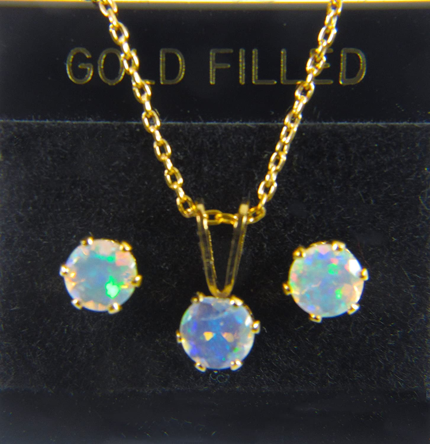 AAA+ grade, 4mm Round Opal, Natural Ethiopian Welo Fiery Opals in 14kt GOLD FILL SET of Necklace & Earrings. October Birthstone with excellent color play.