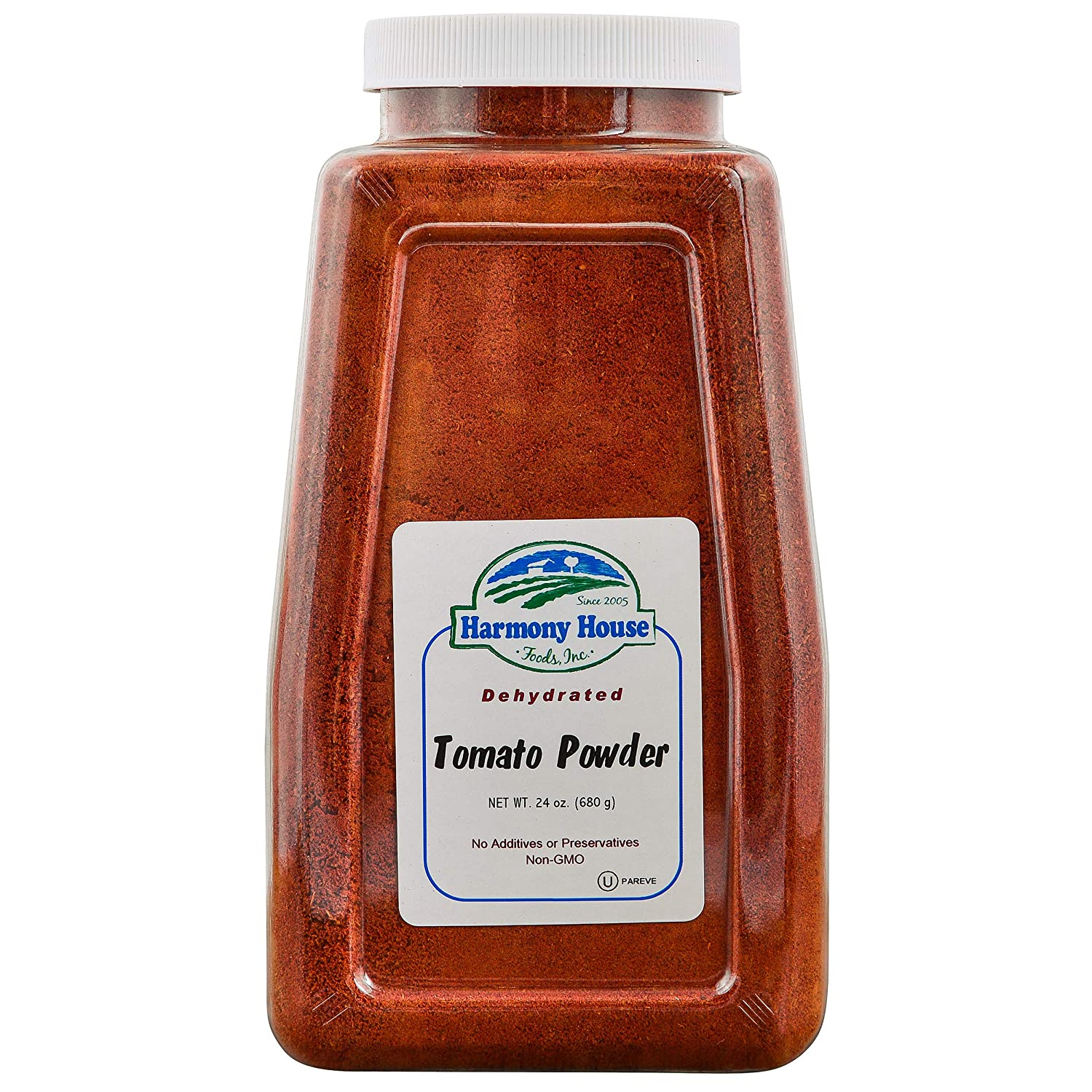Premium Dehydrated Tomato Powder, 22 oz Size Quart Jar - From Harvest Red Tomatoes by Harmony House Foods