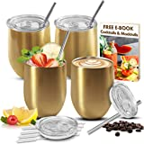 LOADEDSPOON Stainless Steel Wine Tumbler Set with Lids and Straws 4 Pack, Free E-Book, Stainless Steel Stemless Gold…
