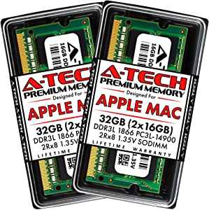 A-Tech 32GB (2x16GB) RAM for Late 2015 iMac 27 inch Retina 5K | DDR3L 1866MHz / 1867MHz PC3L-14900 SO-DIMM 204-Pin CL13 1.35V Non-ECC Unbuffered Memory Upgrade Kit