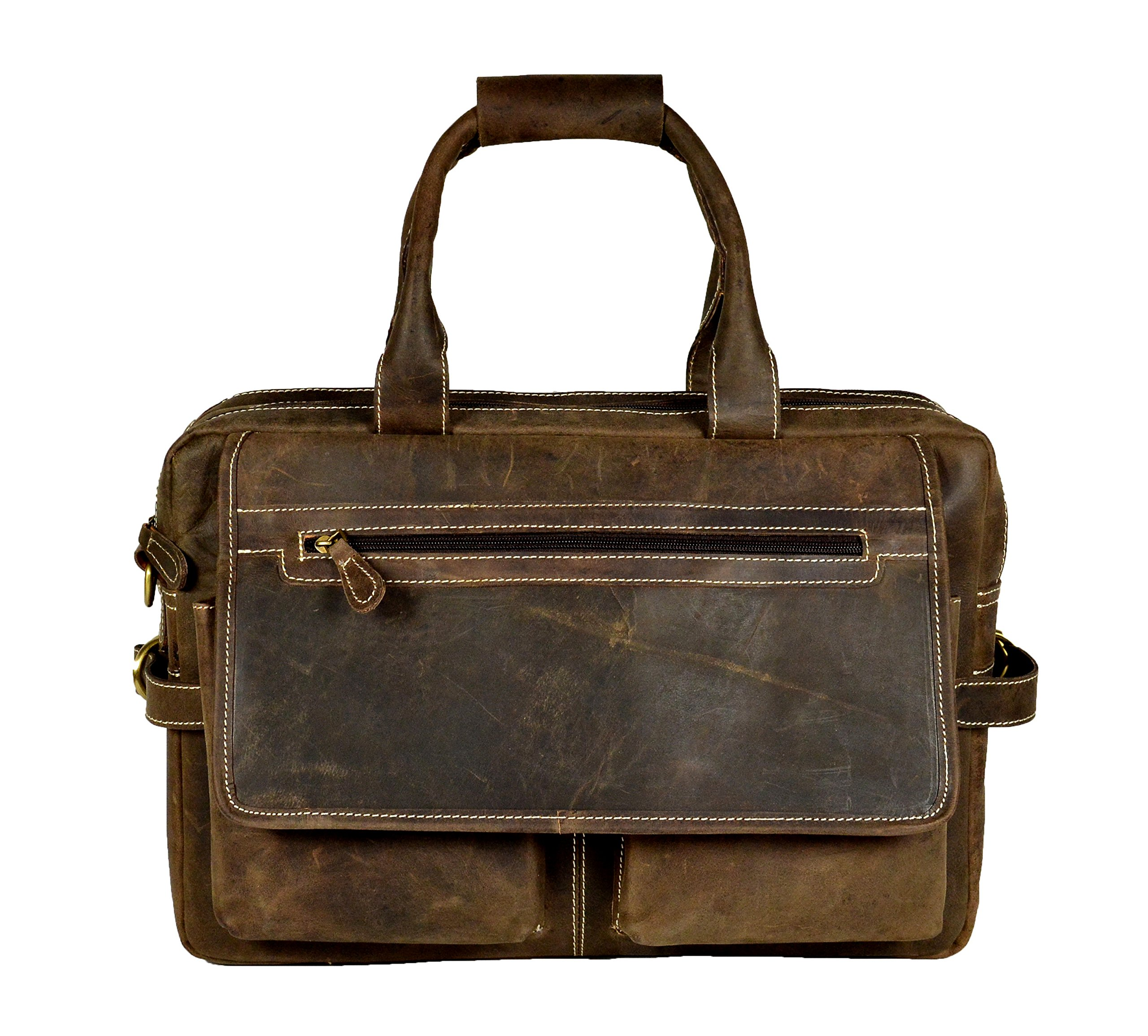 NICK & NICHE Christmas Deal Crazy Horse Hunter Leather Laptop Notebook Messenger Bag For Men and Women Office Briefcase With Size 16inchs Christmas Gift