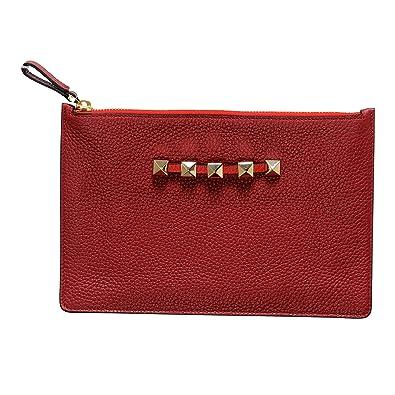 70e5db6881d17 Valentino Garavani Women s Red 100% Leather Rockstud Small Clutch ...