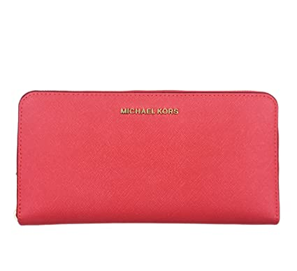 26e22fb454b2 MICHAEL MICHAEL KORS Jet Set Travel Saffiano Leather Continental Wallet  -Extra Large (Coral Reef): Amazon.co.uk: Clothing
