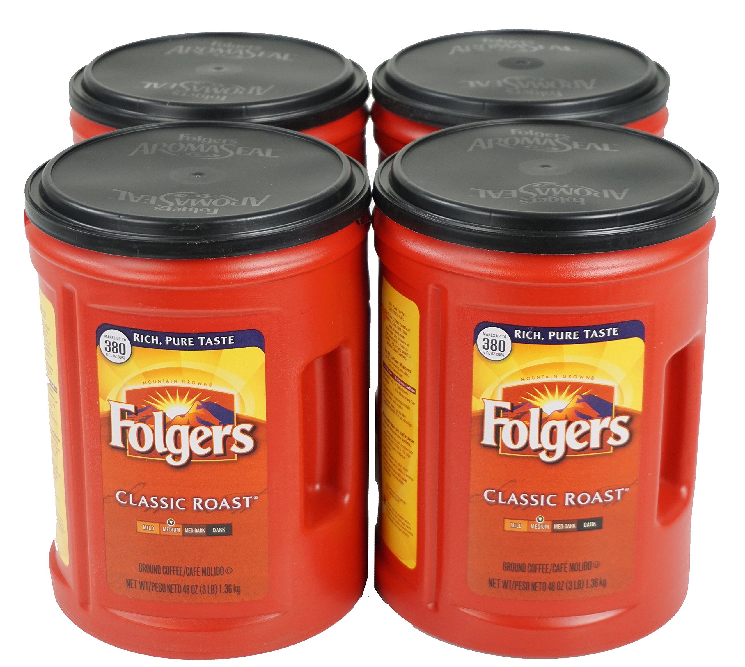 Folgers 4-Pack of 48 Ounce Canisters, Classic Medium Roast Coffee by Folgers