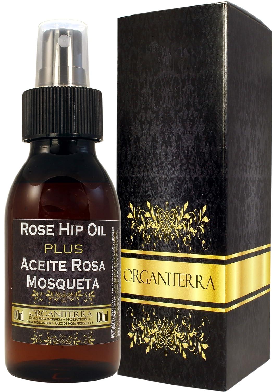 Aceite de Rosa Mosqueta Plus by Organiterra. Unico Aceite de Rosa Mosqueta de Selección Especial con Parámetros de Calidad Garantizados. Botella 100 ml con Pulverizador y Gotero.