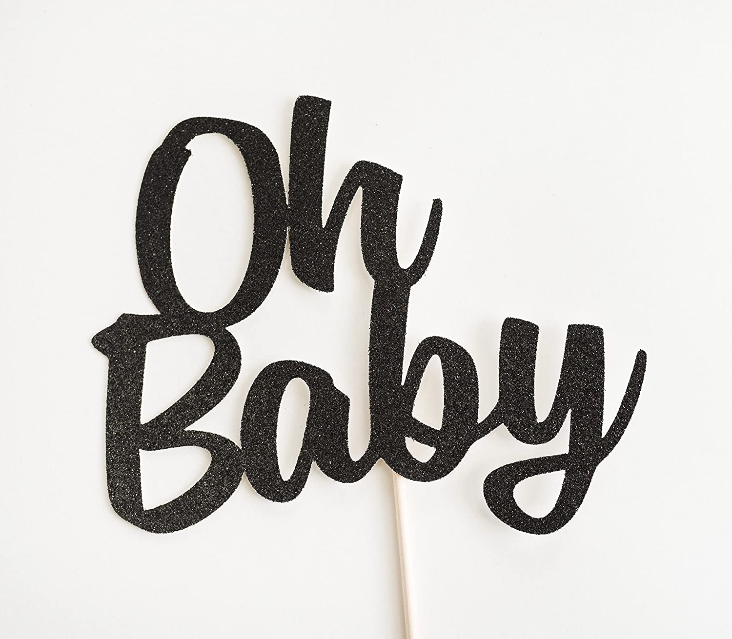 Black Glitter 'Oh Baby' Cake Topper, Script, Baby Shower, Gender Reveal, Sip and See