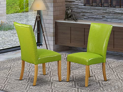 East West Furniture ALP4B51 parson chairs – High-class Autumn Green Pu Leather, Solid Wood Oak Finish Legs Modern Parson Chairs Set of 2