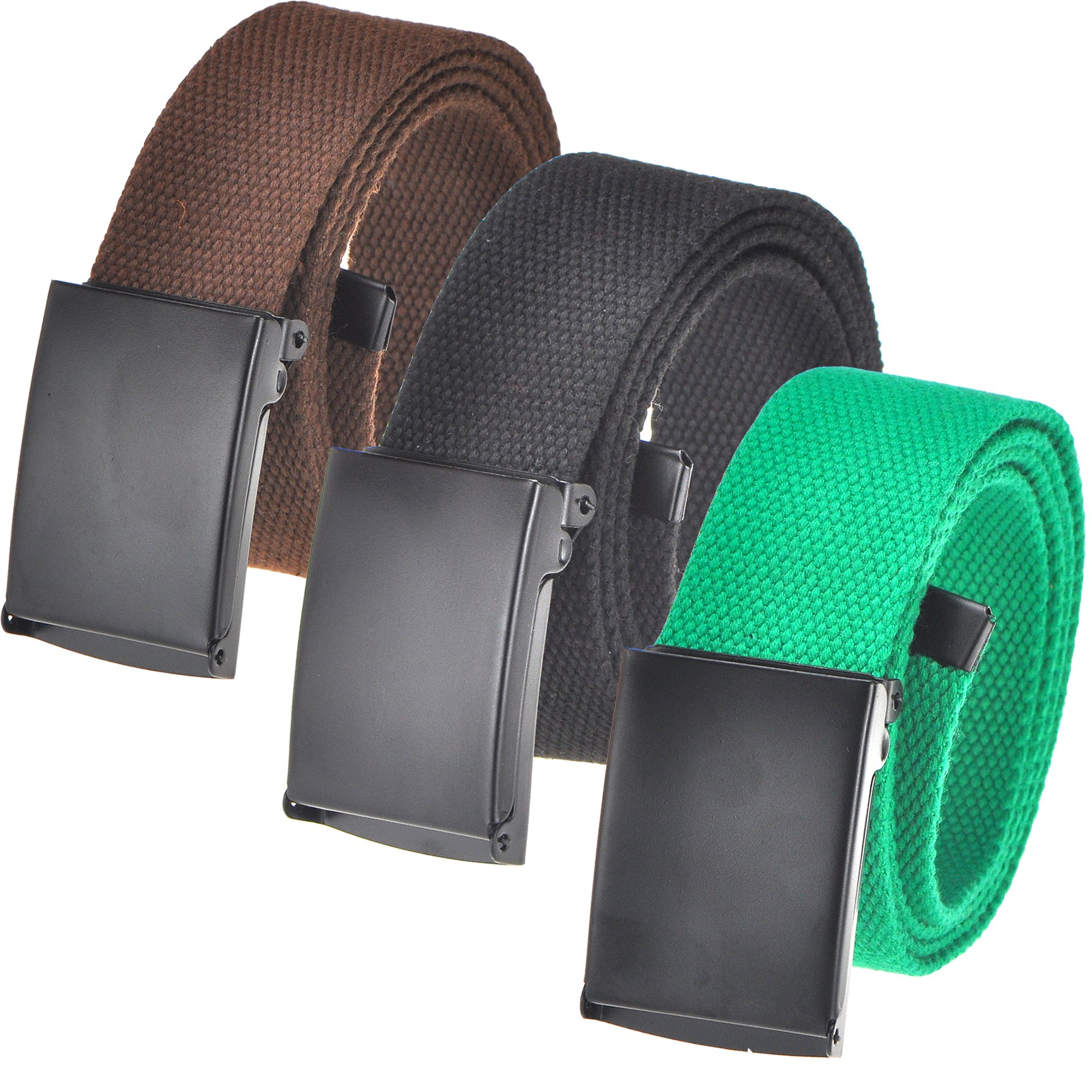 Cut To Fit Canvas Web Belt Size Up to 52'' with Flip-Top Solid Black Military Buckle (16 Color and Combo Pack Options) (3 Pack Black/Brown/Green)