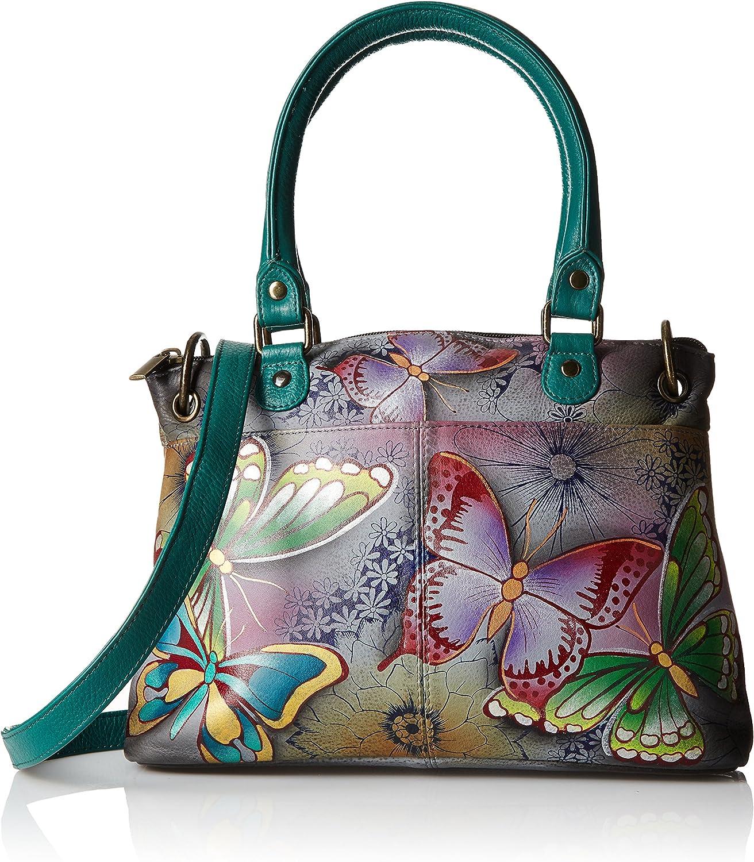 Anna by Anuschka Women's Leather Small Satchel Handbag, Hand-Painted Original Artwork