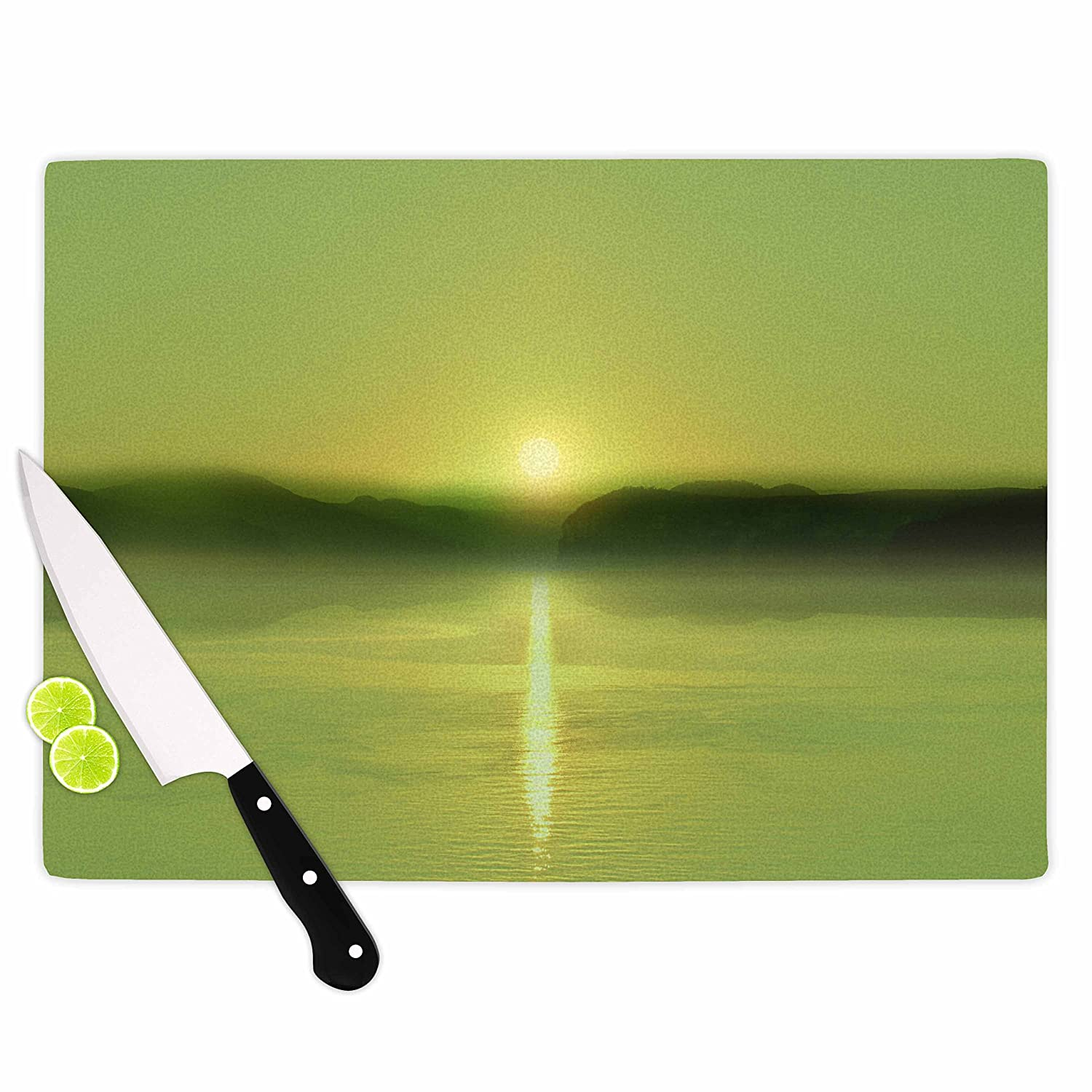 Multicolor KESS InHouse Viviana GonzalezPastel Vibes 51 Greenery Green Yellow Photography Cutting Board 11.5 x 15.75