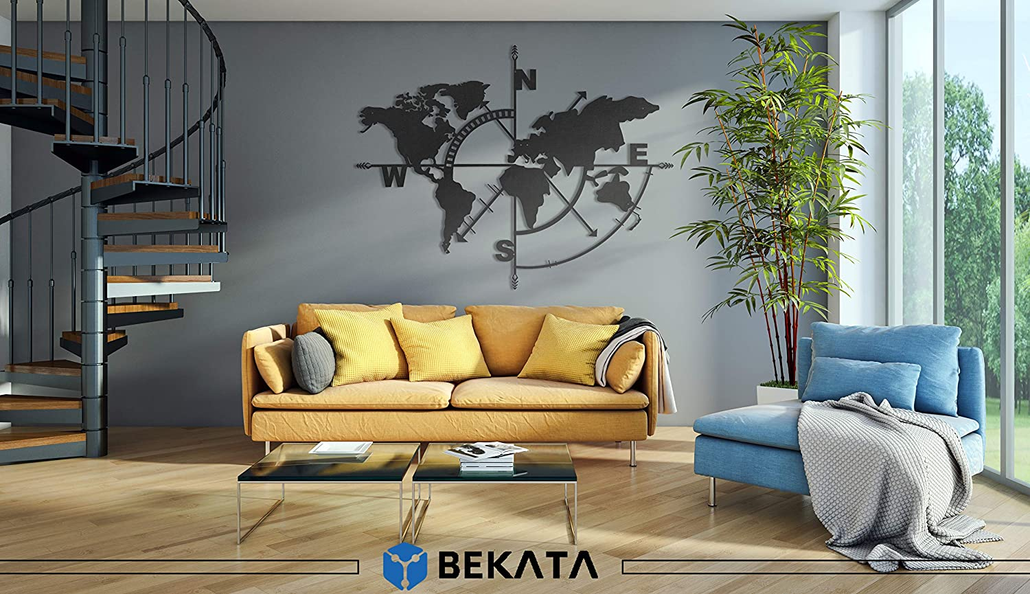 Wall Decor BEKATA World Map Themed Black Metal Wall Art MEDIUM SIZE Bedroom Christmas Perfect For Every Home Living Room Office Decoration Housewarming Gift,Birthday Gift