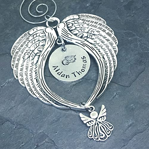 amazon com hand stamped personalized christmas angel baby ornament