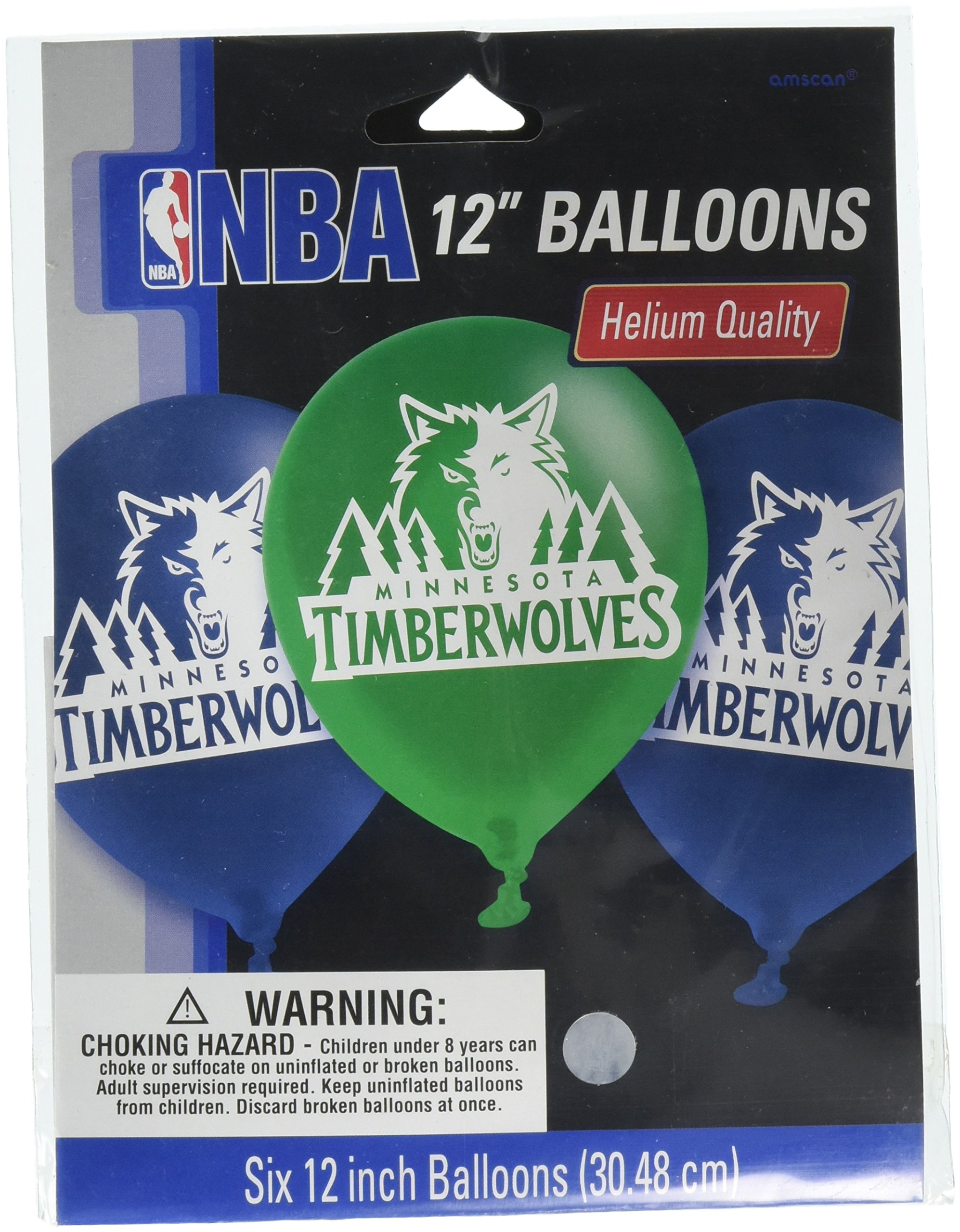 Amscan Sports & Tailgating NBA Minnesota Timberwolves Printed Latex Balloons Childrens Party