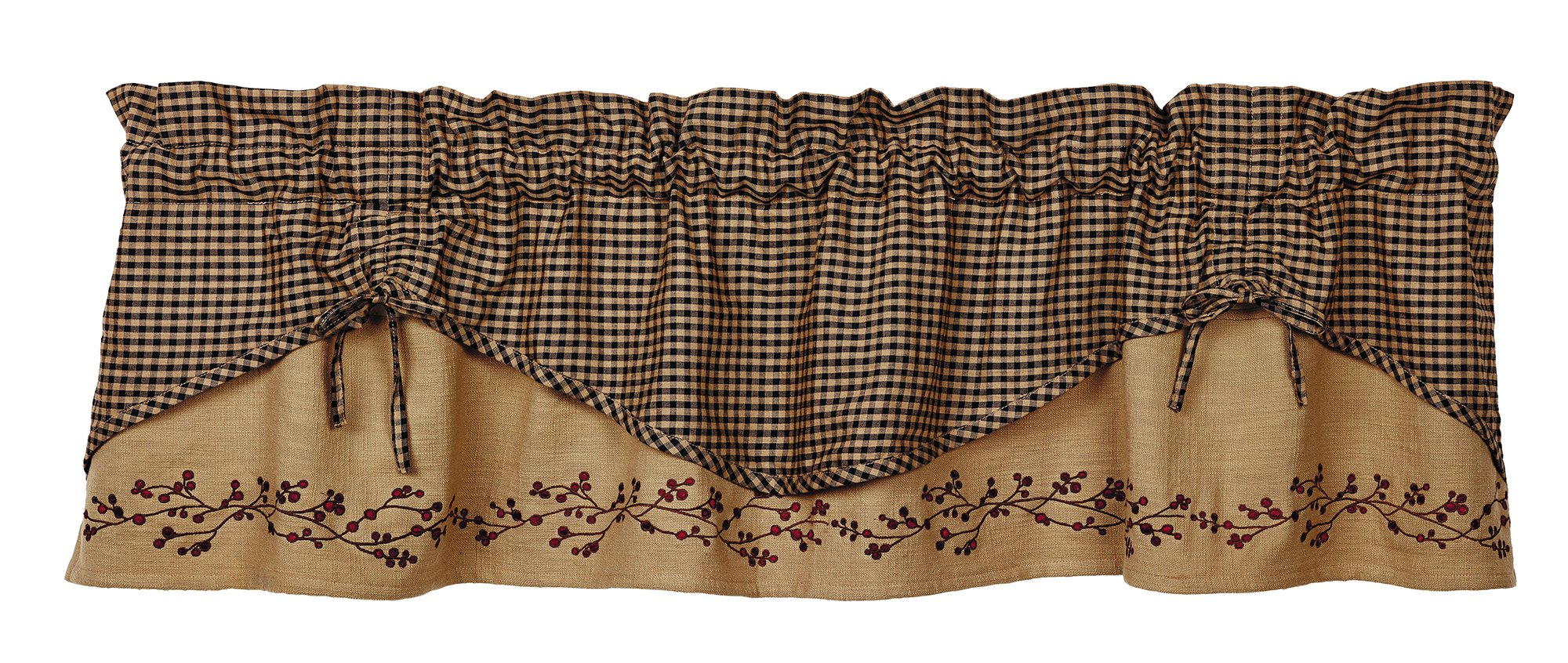 Berry Vine Valance, Scalloped, 60'' x 16'', Country Curtain, Primitive Curtain, Black check