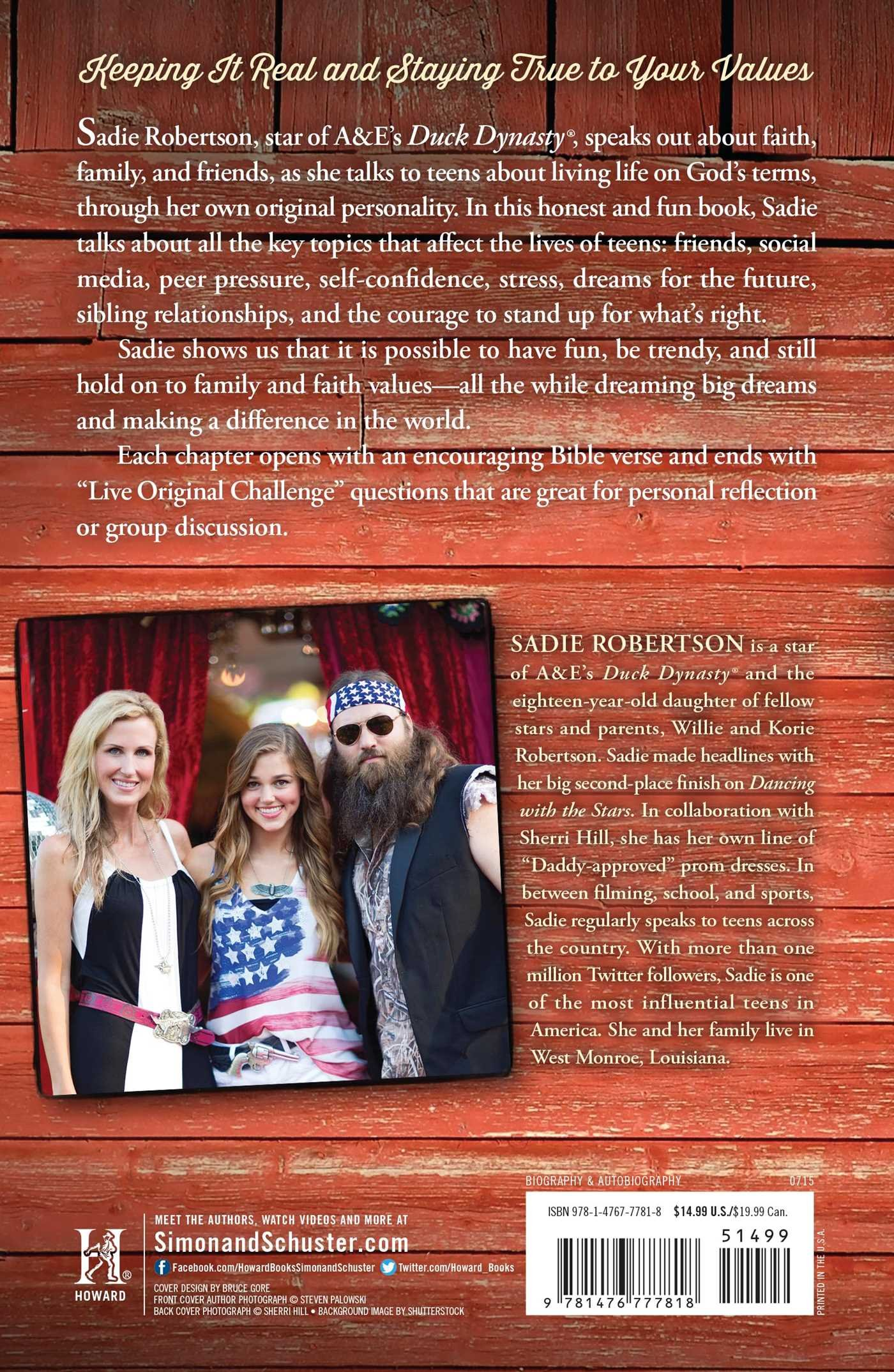 Live Original: How the Duck Commander Teen Keeps It Real and Stays True to Her Values: Amazon.co.uk: Sadie Robertson, Beth Clark: 8601422216622: Books
